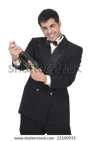 man opening a champagne bottle at a new year party - stock photo