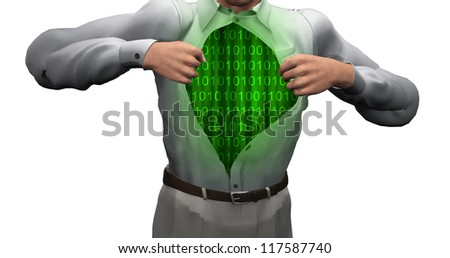Man opens shirt to reveal binary streams - stock photo