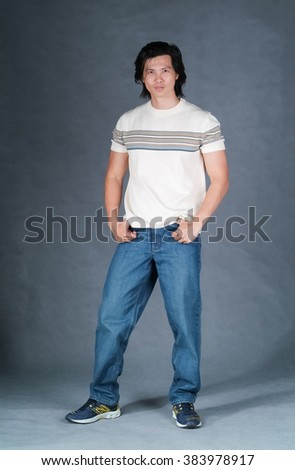 man or chinese young man shopping on background