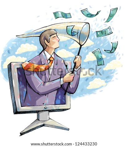 Man out of the monitor catches money. - stock photo