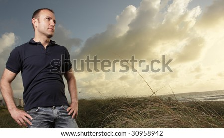 Man outdoors during sunrise