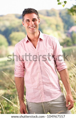Man outdoors in countryside