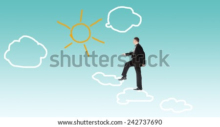 Man over clouds.Financial business - stock photo