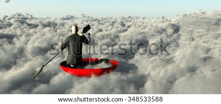 Man paddling through clouds in an upturned umbrella - stock photo