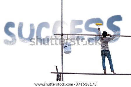 Man painting with roller against painted success on white background