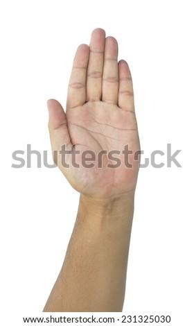 man palm hand isolated white background - stock photo