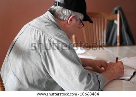 Man paying bills