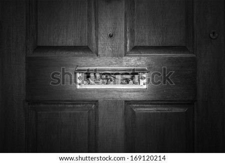 man peeping through letterbox. black and white - stock photo