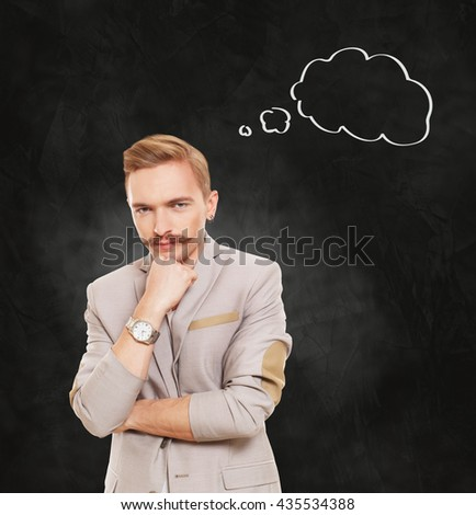 Man pensive with thinking cloud. Young man thoughtful. Caucasian man thinking at black gradient background. Serious stylish guy with mustache consider some idea.
