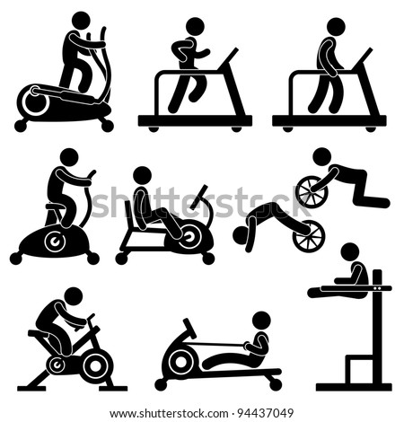 Man People Athletic Gym Gymnasium Fitness Exercise Healthy Training Workout Sign Symbol Pictogram Icon - stock photo