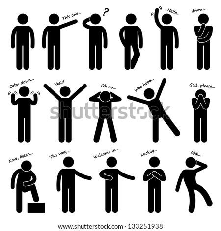 Man People Person Basic Body Language Posture Stick Figure Pictogram Icon - stock photo