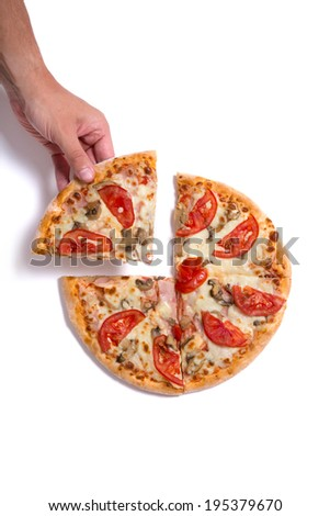 Man picking tasty slice, studio shot on white background with natural shadow  - stock photo
