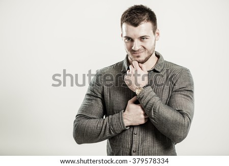 man planning meanness - stock photo