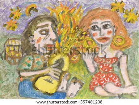 Man playing a guitar for a woman. Acrylic painting.