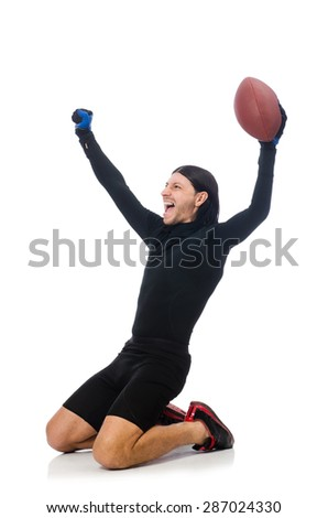 Man playing american football isolated on white