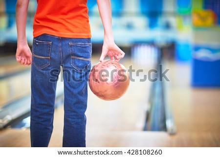 man playing bowling - stock photo