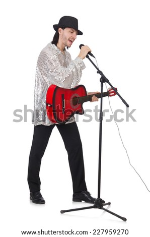 Man playing guitar and singing isolated on white - stock photo