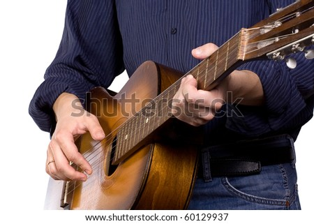 man playing guitar on white - stock photo