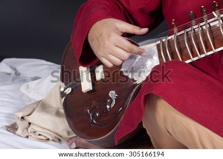 Man playing the sitar - stock photo