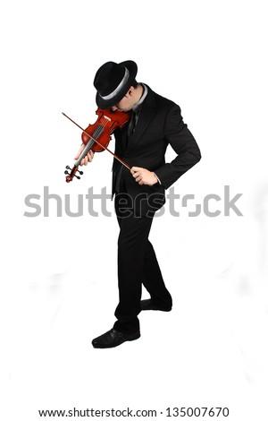 man playing the violin - stock photo