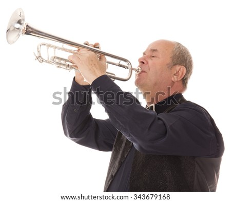 man playing trumpet on a white background