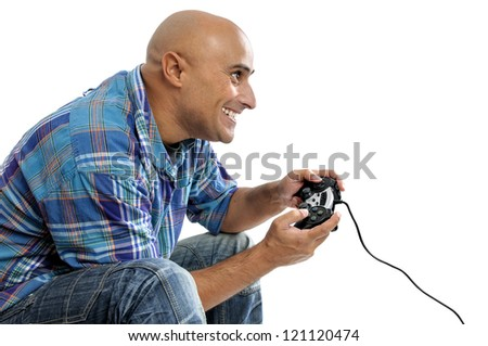 Man playing video games isolated in white