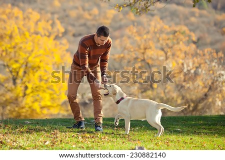 Man playing with dog - stock photo
