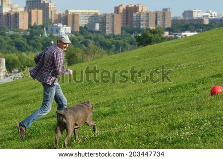 Man playing with his dog in the park - stock photo