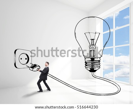 Man plugging abstract drawn lamp in bright white interior with sky view. Great idea concept. 3D Rendering