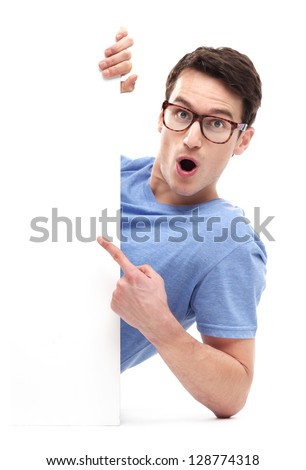 Man pointing at whiteboard - stock photo