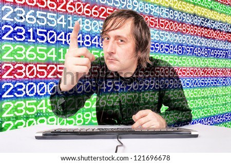 Man pointing finger on the number background - stock photo