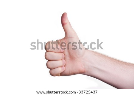 man pointing his thumb up in the air - stock photo