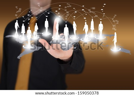 Man pointing to a virtual social network - stock photo