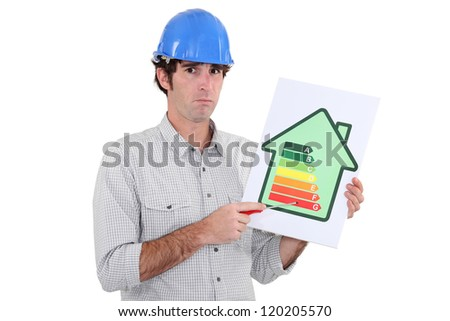 Man pointing to energy efficiency panel - stock photo