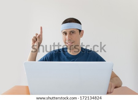 man pointing up with finger and online betting on white background