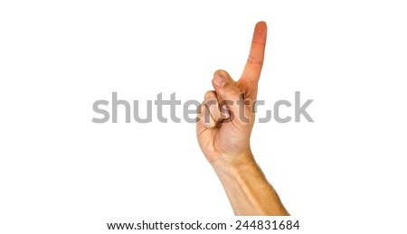Man pointing upwards with his index finger to blank white copyspace above or raising his hand for attention, on white - stock photo