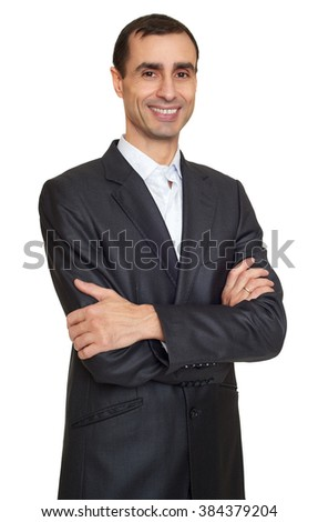 Man portrait in suit on white at studio - stock photo