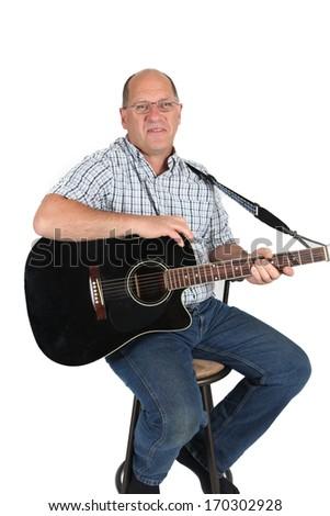 Man posing with Guitar - stock photo