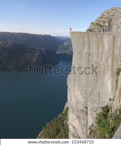 Man Preikestolen or Pulpit rock (Norway)