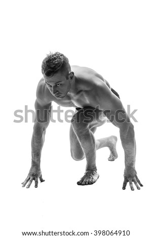 Man preparing for running. silhouette. isolate on white. Black and white photo
