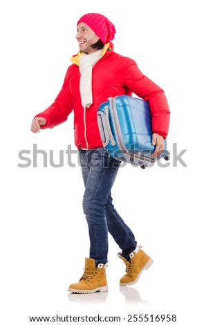 Man preparing for winter vacation - stock photo