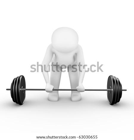 Man preparing to lift weight,3d render - stock photo