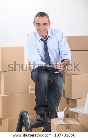 Man preparing to move - stock photo