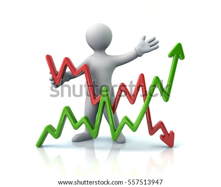 Man presenting business graph 3d illustration on white background