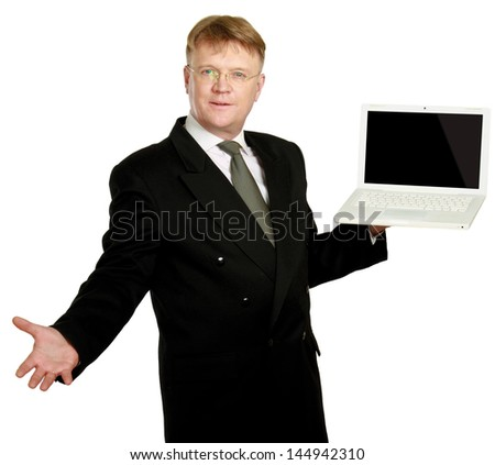 Man presenting laptop isolated on white background - stock photo