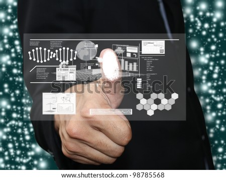 Man press fingerprint - stock photo