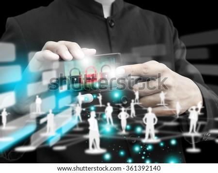 man press phone technology - stock photo