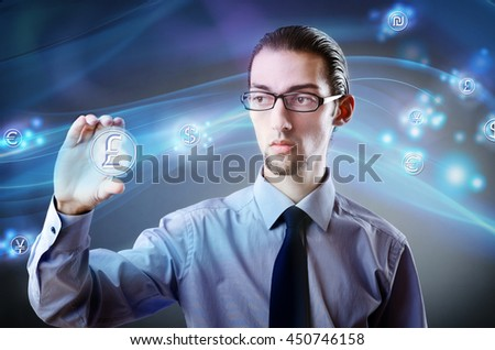 Man pressing buttons with british pound - stock photo