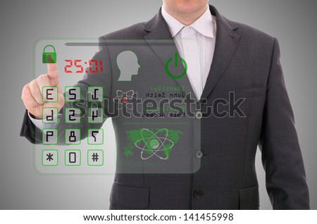 Man pressing the access card, security data concept - stock photo