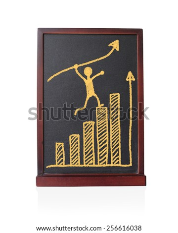 Man profit running arrow growth up with graph statistical trend written on chalkboard isolated object - stock photo